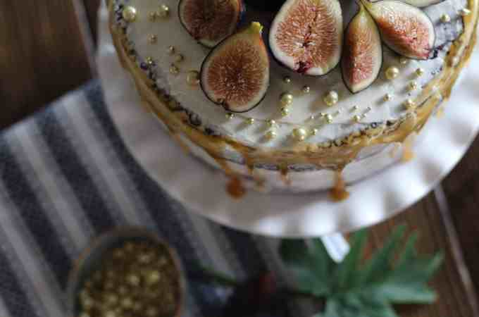 Salted Caramel Fig Chocolate Cake