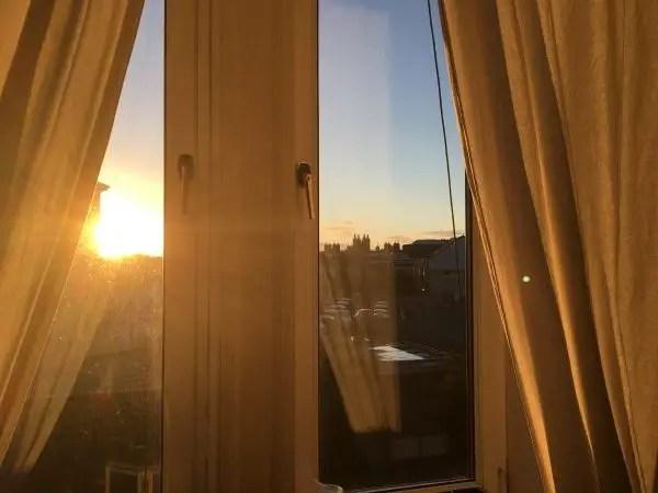sunset view from Edinburgh flat