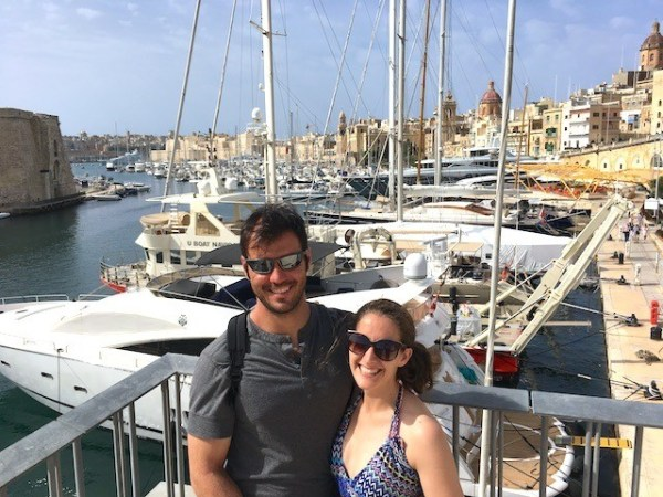 Enjoying the views of the Grand Harbour in Malta from the Three Cities