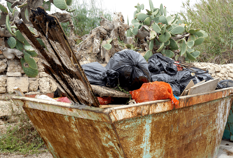 Full dumpster after a coastal cleanup in Malta