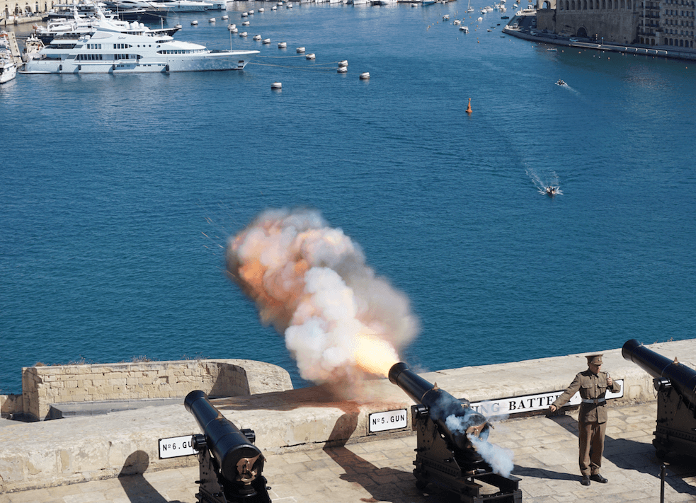 Visit the Saluting Battery in Valletta for the daily 4pm cannon firing