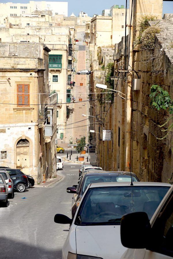 The hilly streets of the Three Cities in Malta