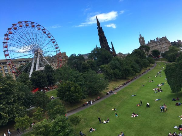 enjoying sunshine in Edinburgh