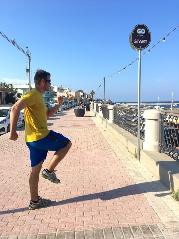 Fake running the promenade in Qawra in Malta - personal trainer Jonathan Clarkin