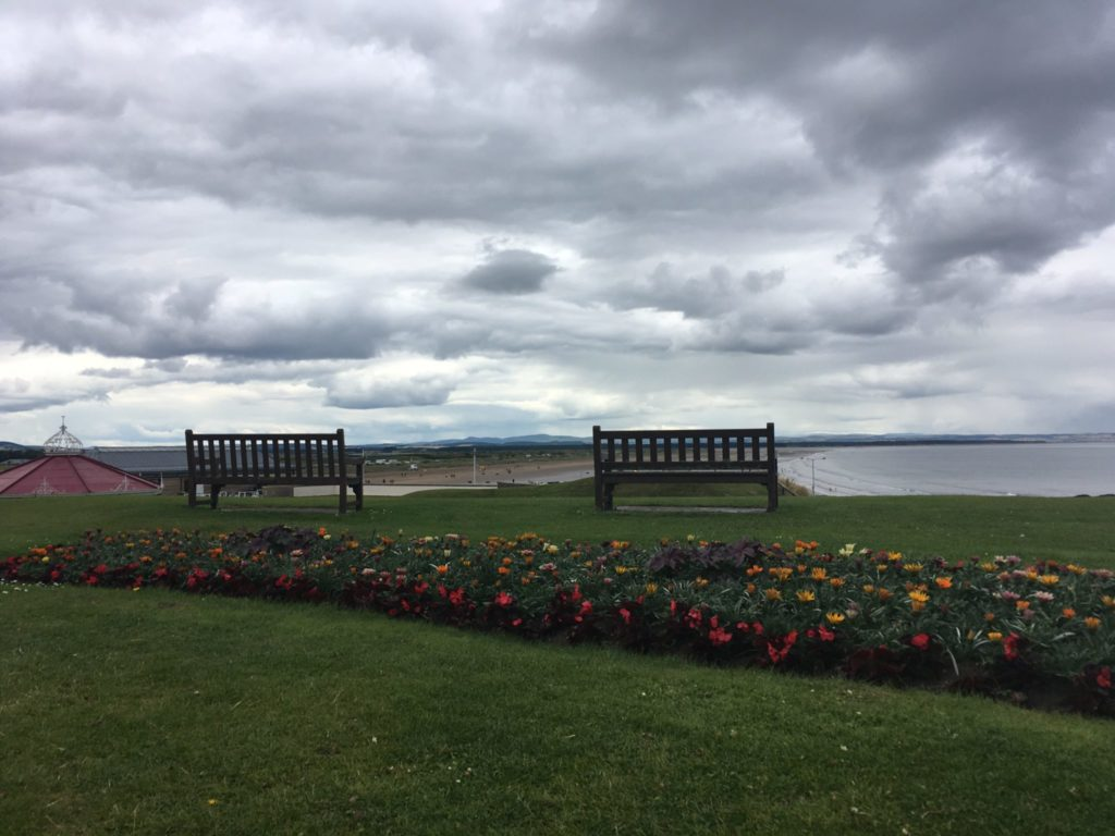 Benches overlooking St Andrews beaches
