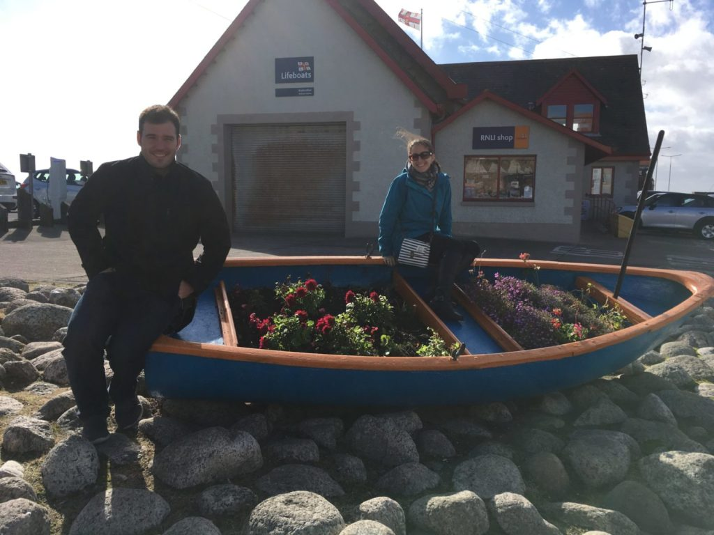 Jonathan Clarkin and Amanda Walkins on a small boat in Anstruther Scotland