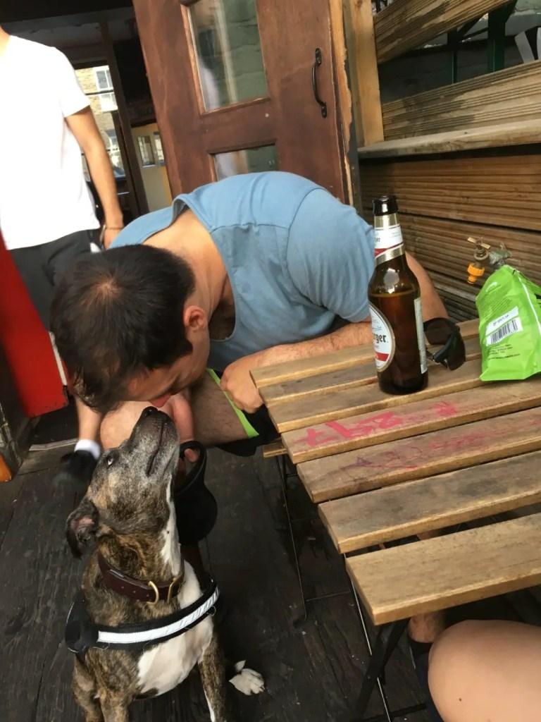 Housesitter Jonathan Clarkin with dog Mama Cass