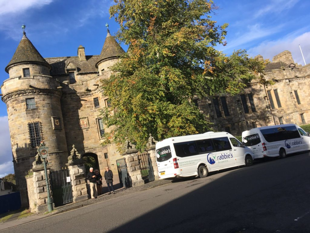 Rabbies tour buses parked at Falkland Palace Outlander film location