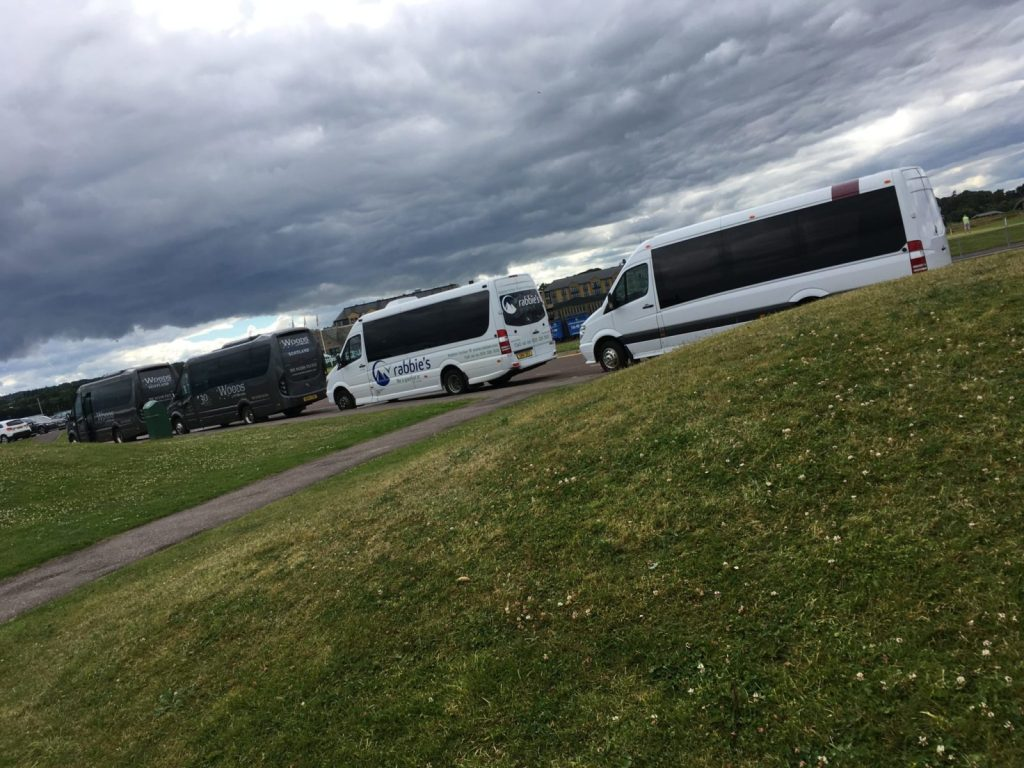 Rabbie's tour buses at St Andrews golf course