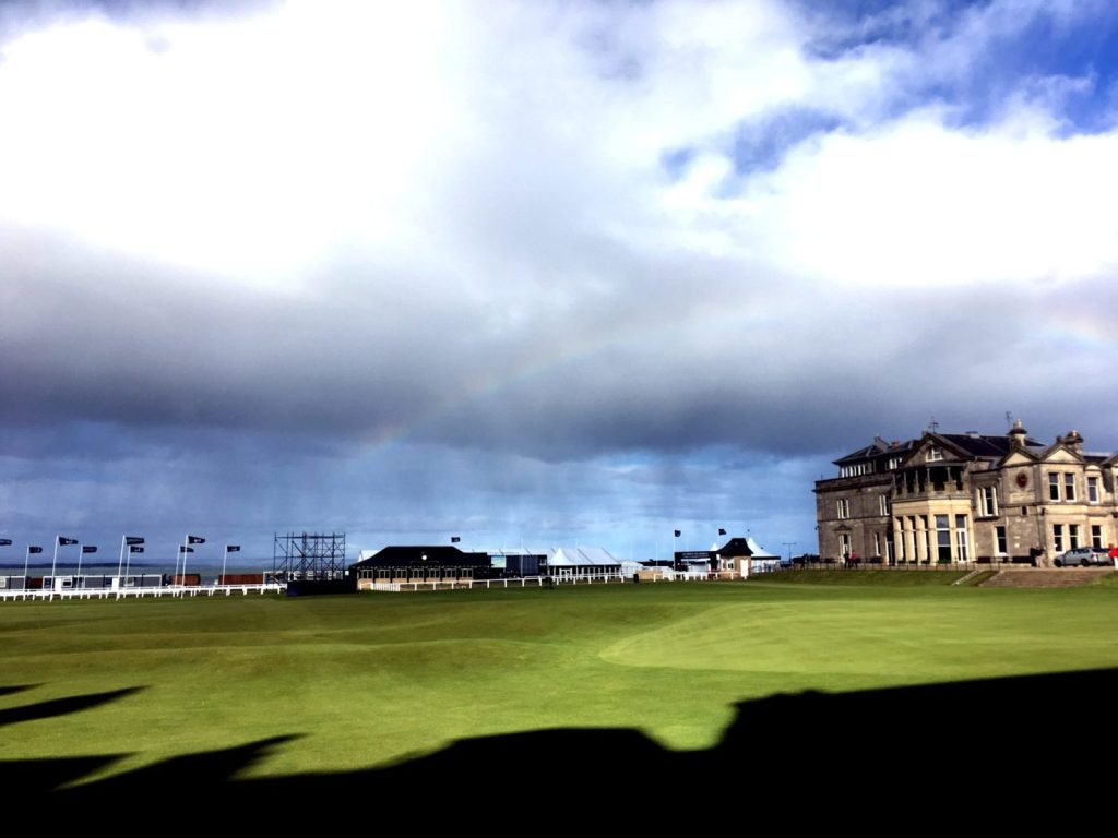 Old Course at St Andrews with a rainbow in the clouds overhead