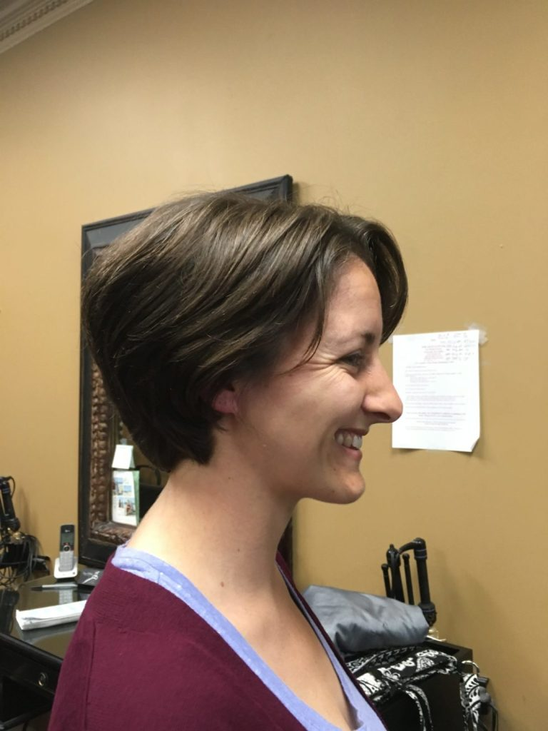 How to donate hair to Locks of Love - image of Amanda Walkins after cutting her hair