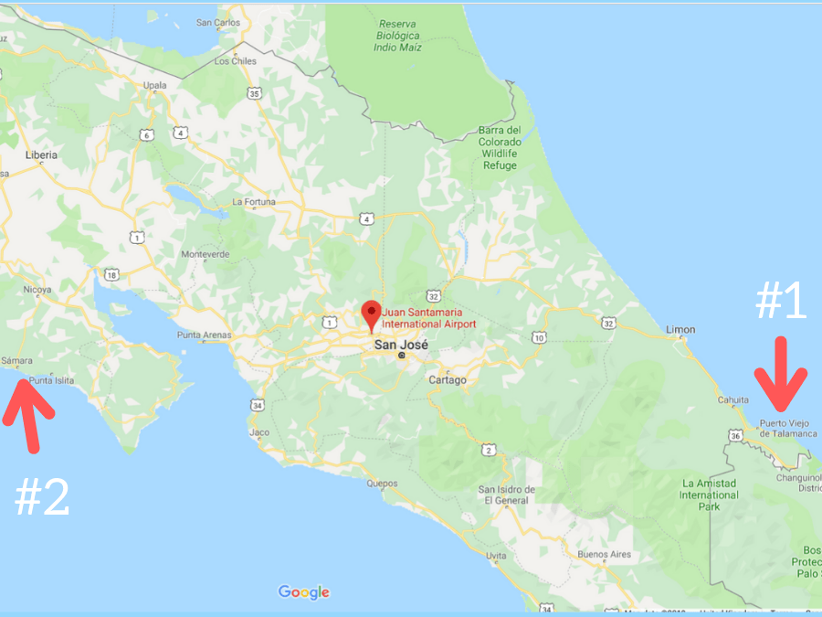Map of Costa Rica showing the airport outside of San Jose and then a spot on each coast for a tourist destination (Puerto Viejo de Salamanca and Samara)