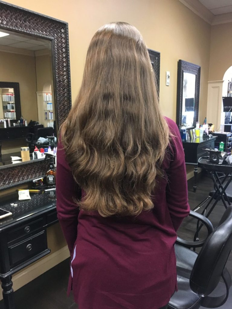 How to donate hair to Locks of Love - image of Amanda Walkins before cutting her hair