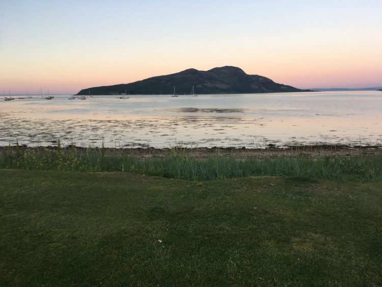 Holy Isle from Lamlash Bay in Arran at sunset