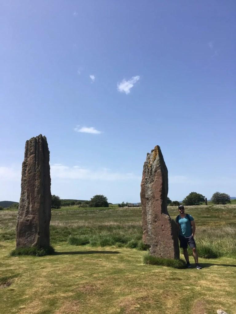 Jonathan Clarkin at the Machrie Moor standing stones Arran