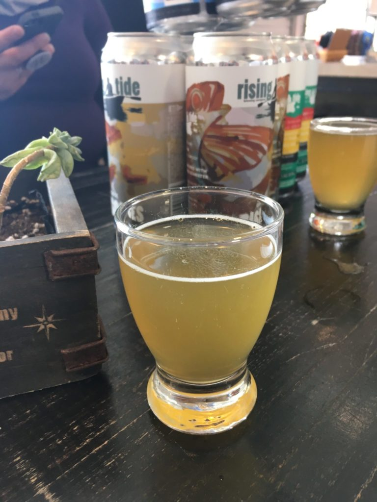 beer samples at Rising Tide Brewery on the Maine Brew Bus tour of Portland