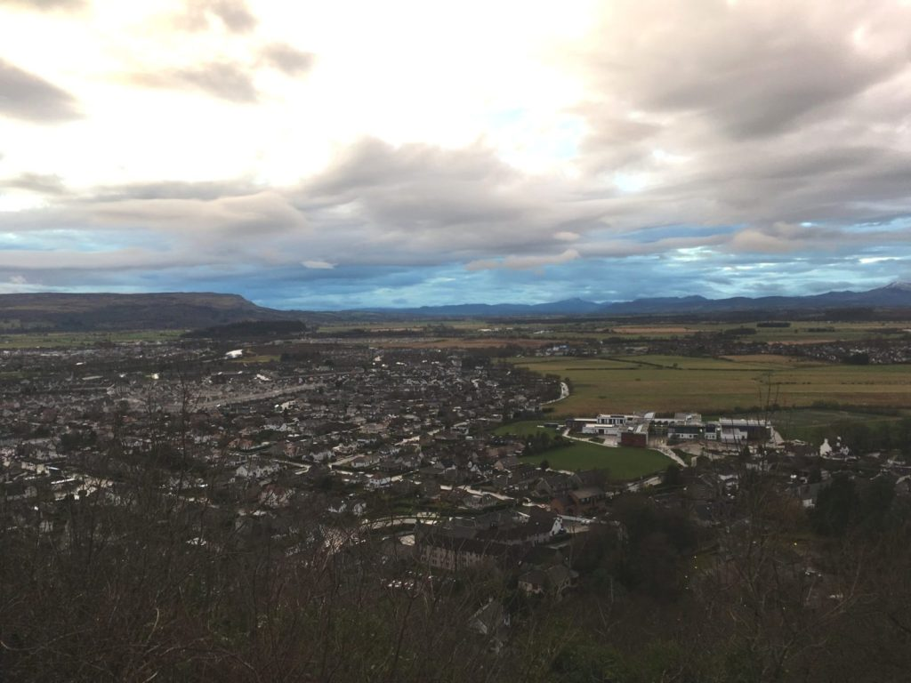 Views from Wallace Monument in Stirling across the valley below