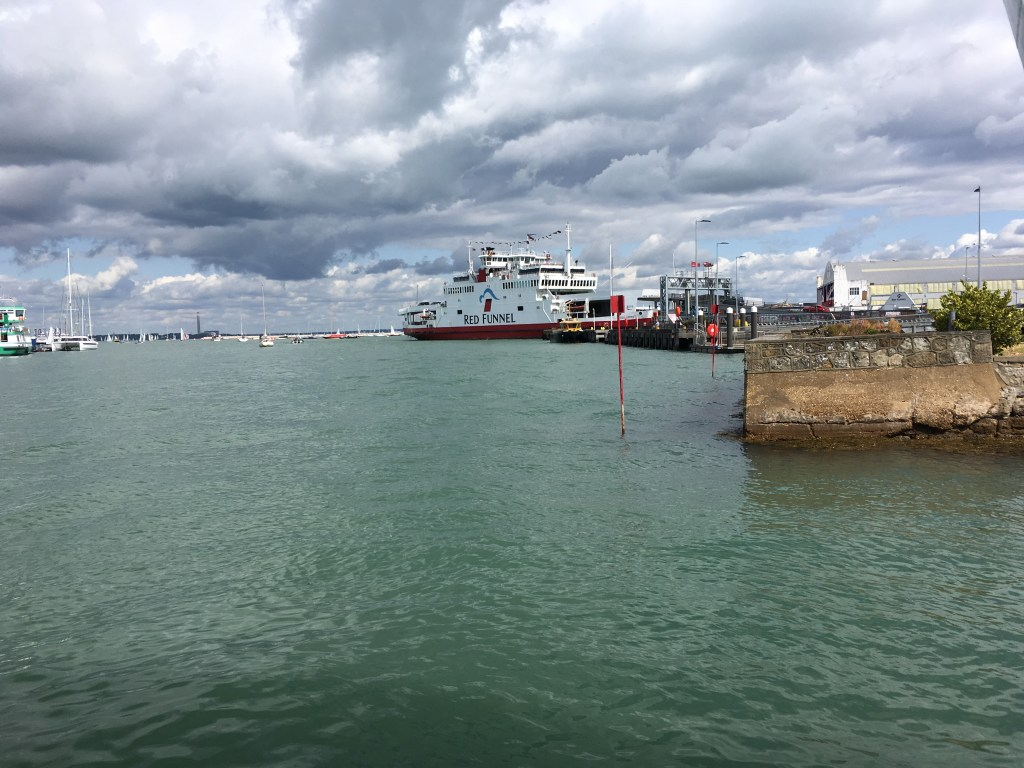 Isle of Wight car ferry terminus from the floating bridge departure point