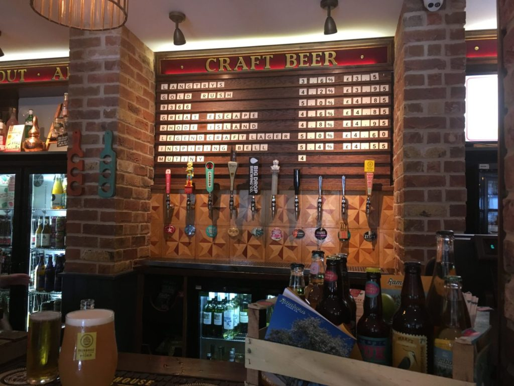 Craft beer list at Southsea Brewhouse and Kitchen Portsmouth