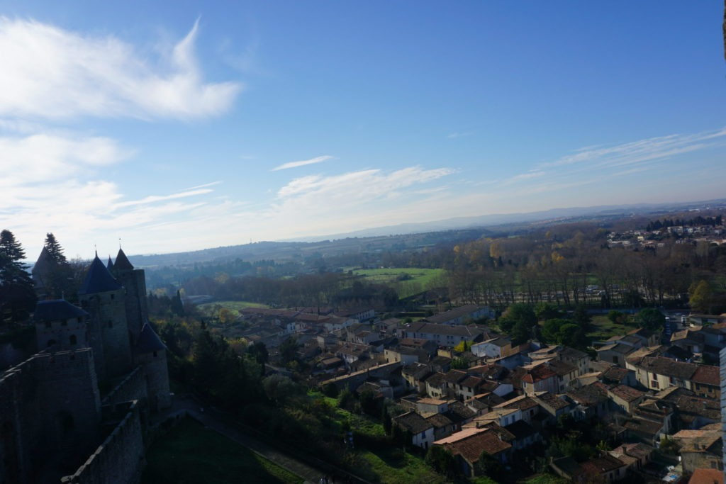 views from Carcassonne castle over the landscape of southern France in winter