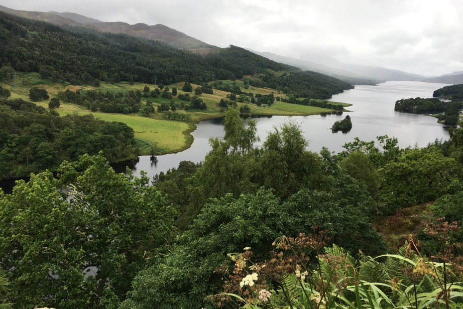 The Queen's View outside Pitlochry, a wide river surrounded by lush green scenery