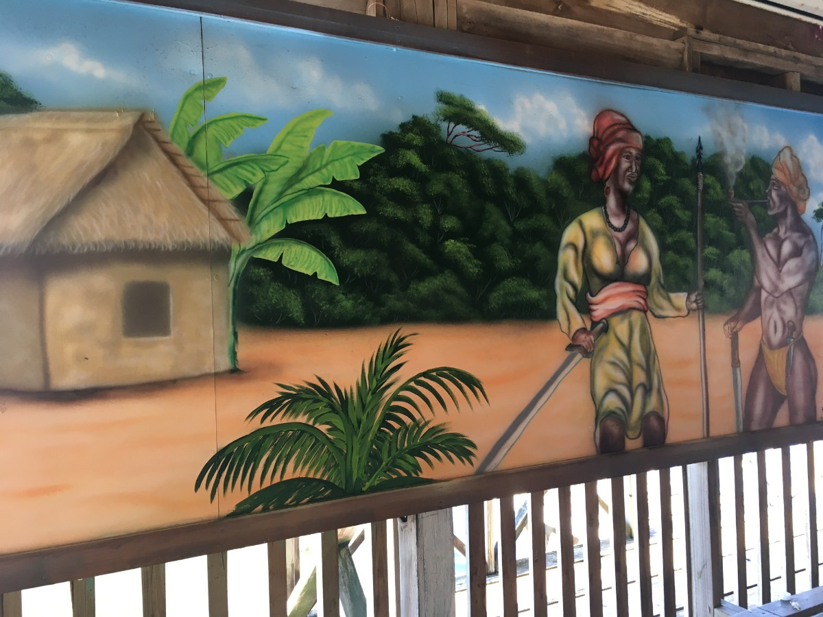 A mural painting depicting Garifuna people