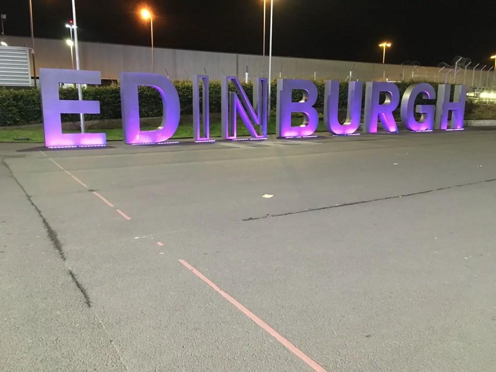 Edinburgh sign at the Edinburgh international airport