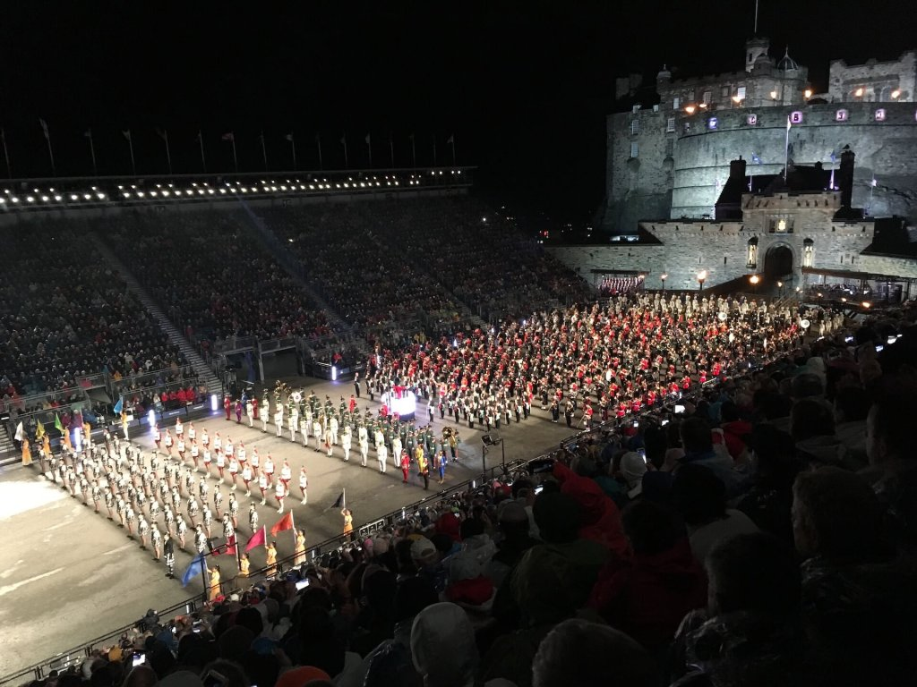 Performers fill Castle Esplanade during the Royal Military Tattoo in Edinburgh