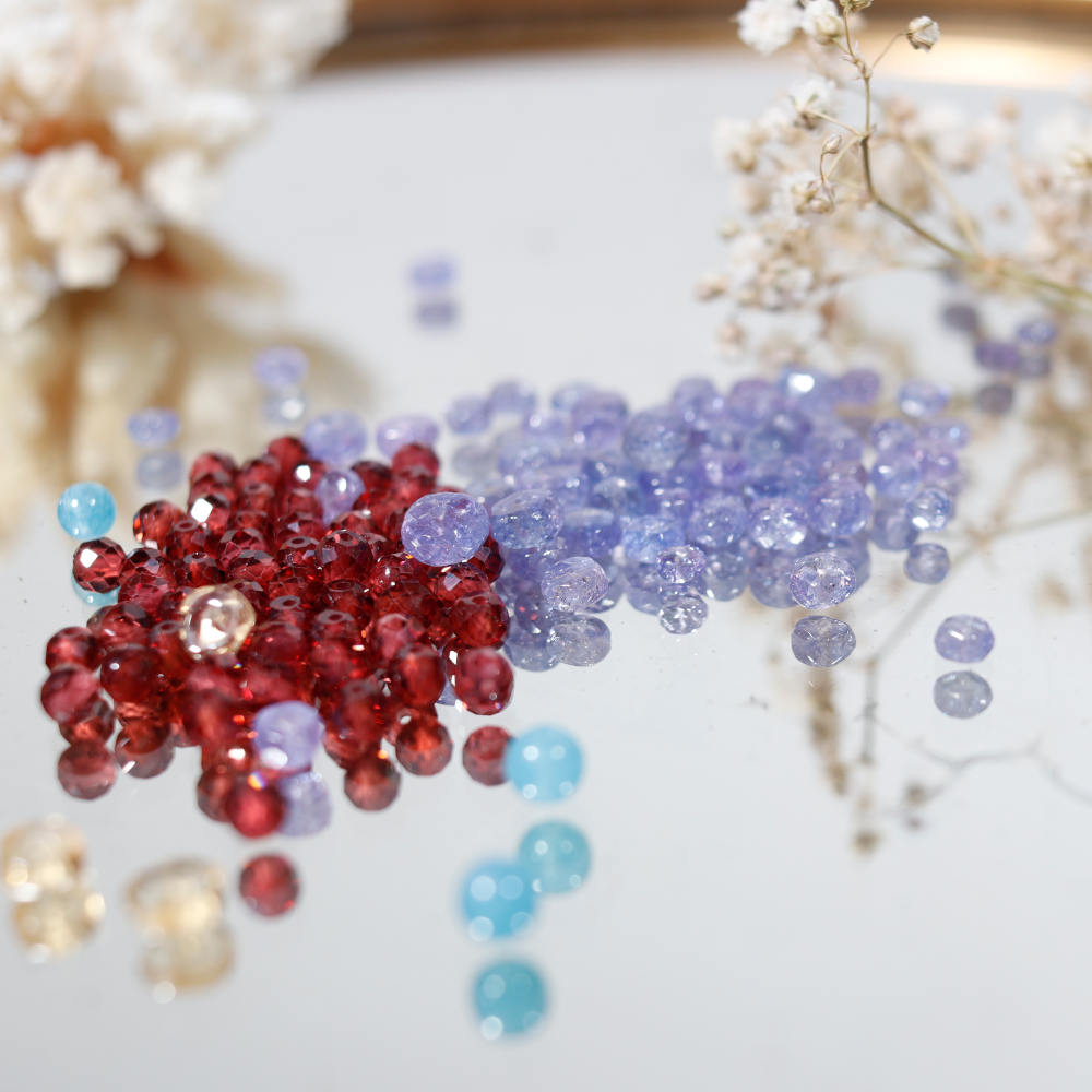 Perles de grenat et de tanzanite