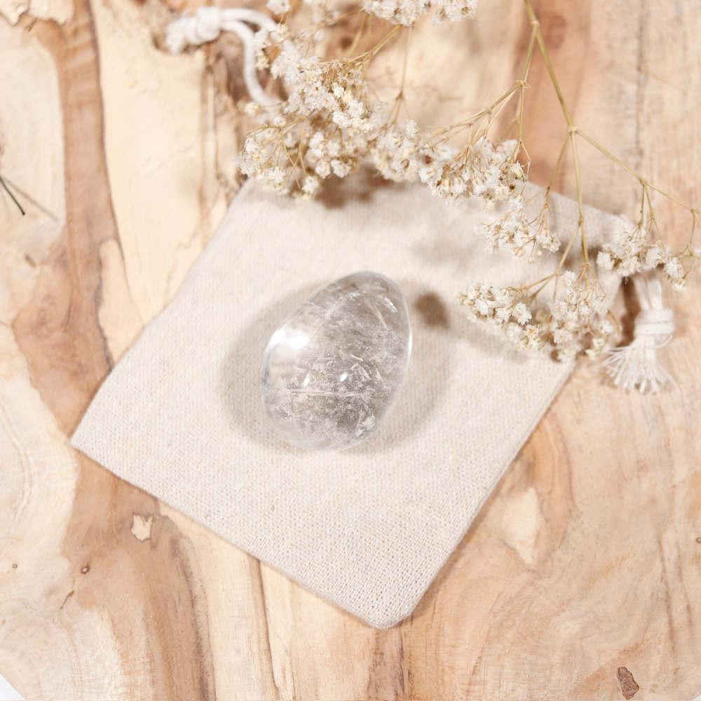 Œuf de yoni en cristal de roche, grand modèle