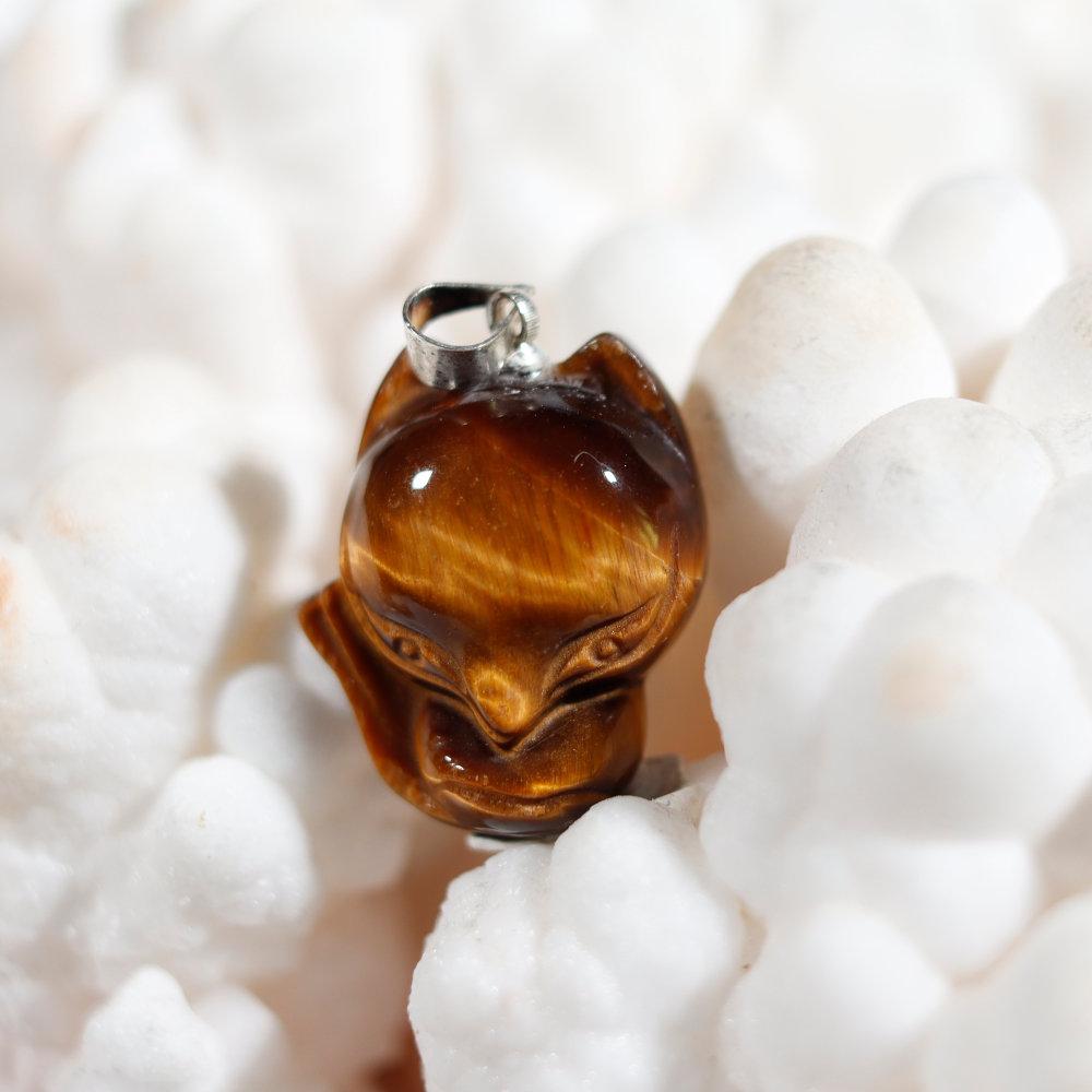 Modèle 1 de pendentif en forme de renard, œil de tigre