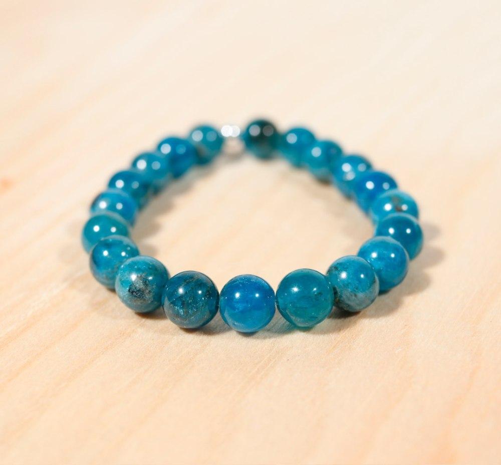Bracelet en apatite bleue, 8 mm
