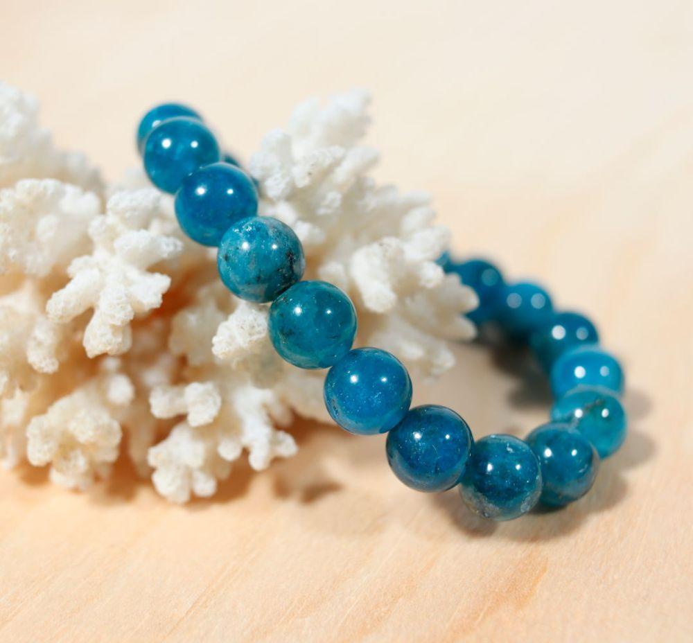 Bracelet en apatite bleue