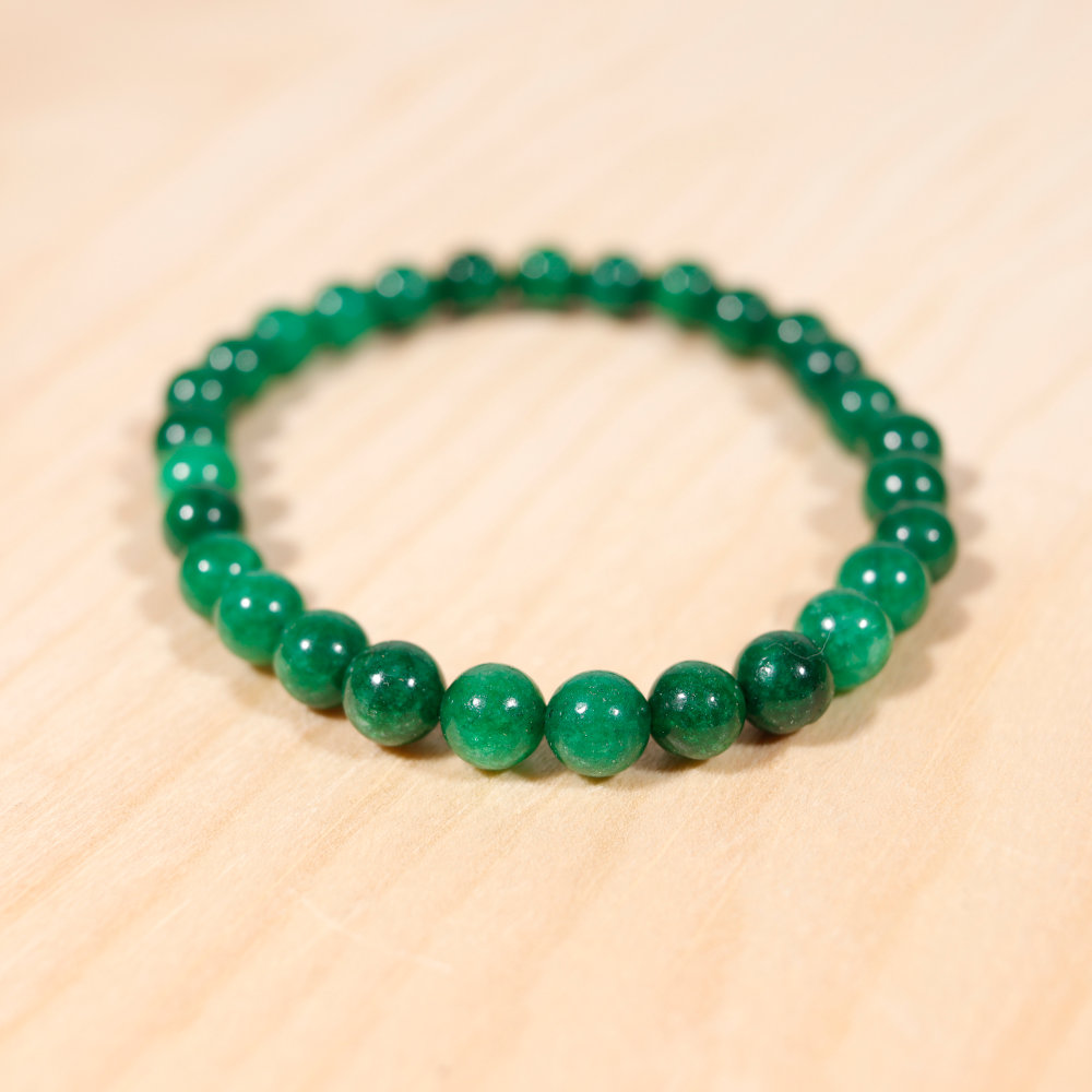 Bracelet en jade africain, perle en 6mm