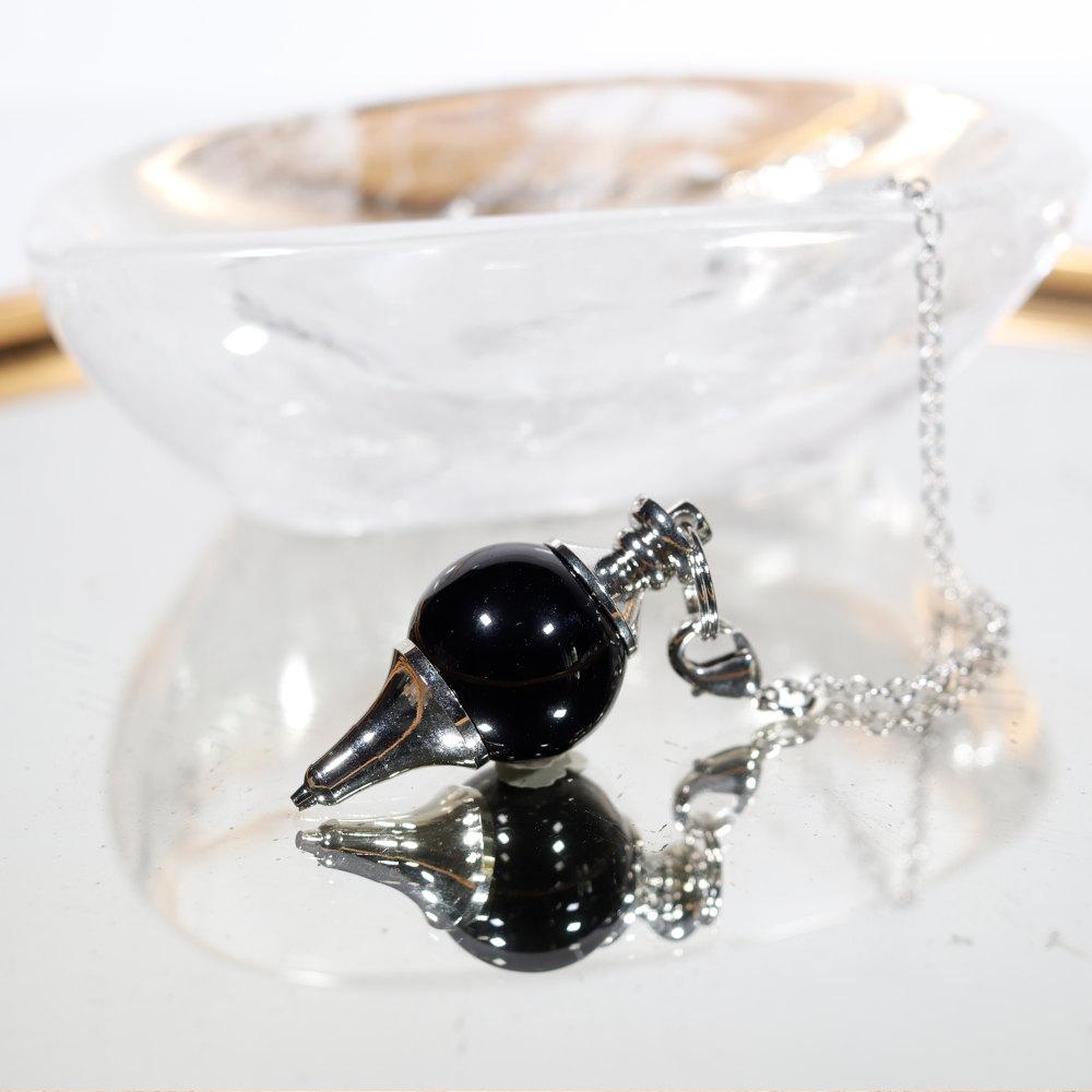 Pendule goutte obsidienne noire