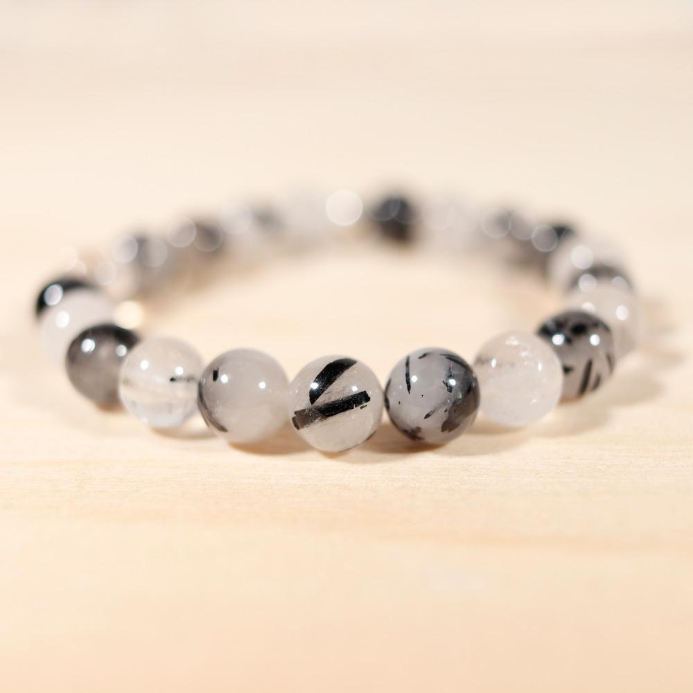 Bracelet en quartz tourmaliné, de 8 mm