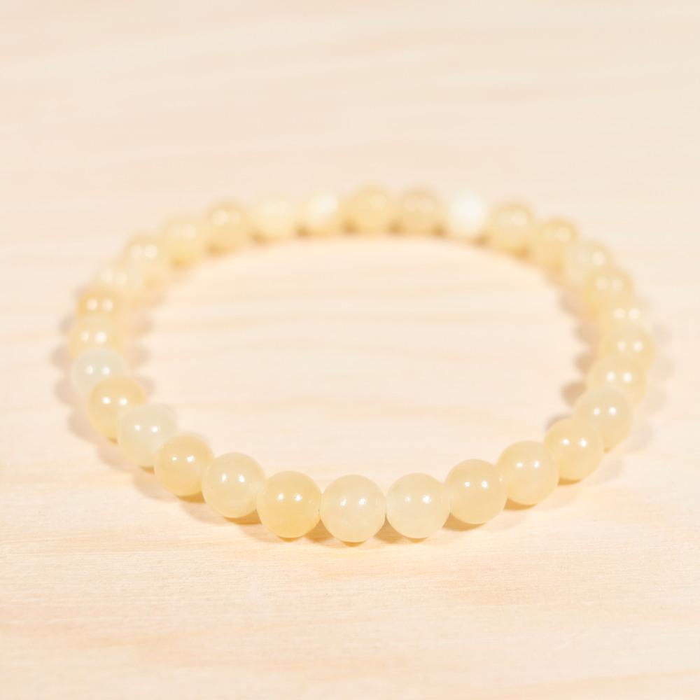 Bracelet en calcite orange, perle de 6 mm