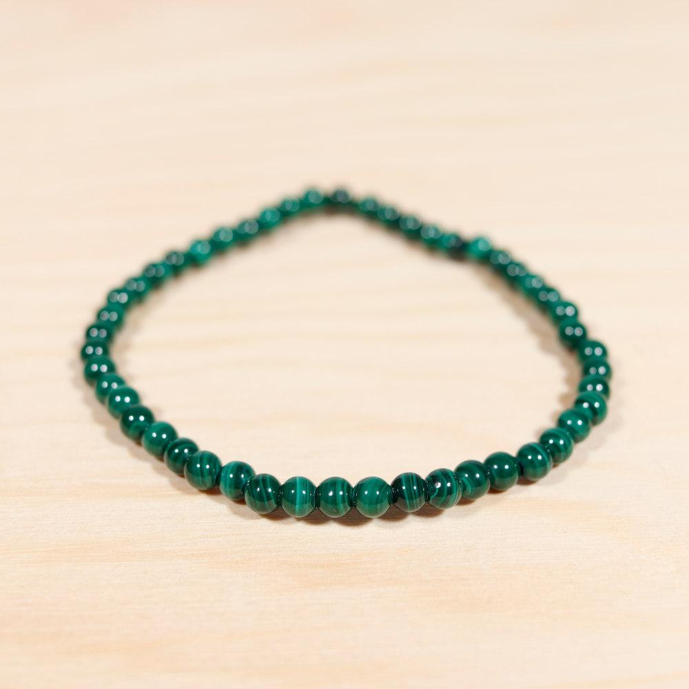 Bracelet en malachite, perles de 4 mm