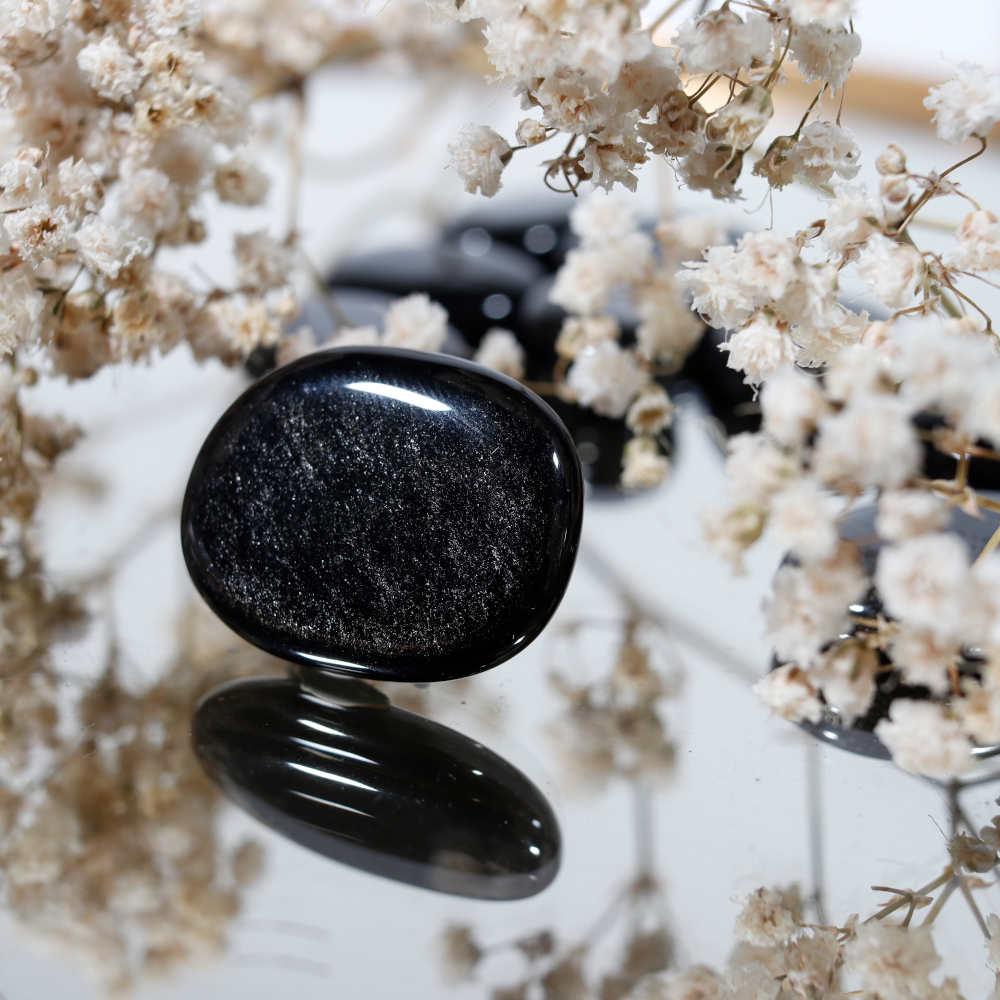 Obsidienne argentée roulée