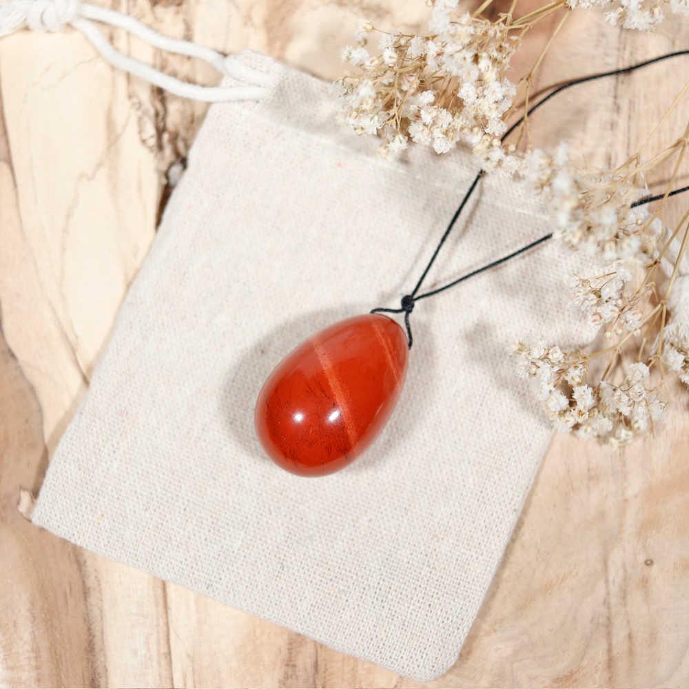 Œuf de yoni percé en jaspe rouge, modèle moyen