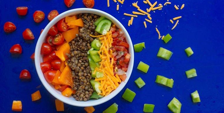 Salade de lentilles colorées