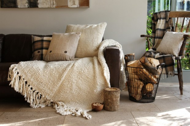Hygge Lifestyle Living Danish Happiness Cozy Throws Blankets Pillows Firewood Candles Wood Furniture Relaxation