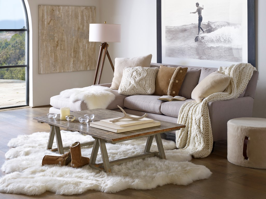 Scandinavian Design Trends White and Cream Living Room with Textiles and Furs