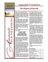 Nov 2014 – The Stigma of Suicide