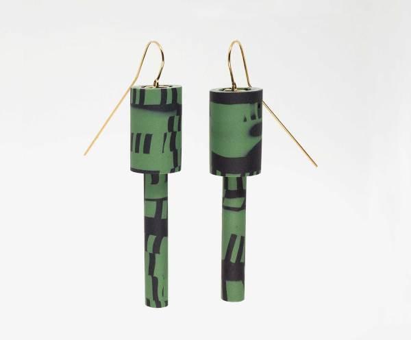 Pendientes de polímero verdes Diederick Van Hovell con Fanny Bergerot