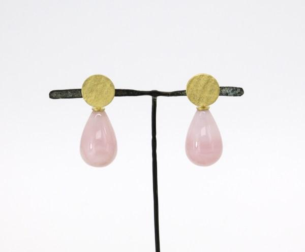 Pendientes de oro con ópalo rosa . Grego García. Diseño de joyería. Joyería Barcelona. Jewelry Design