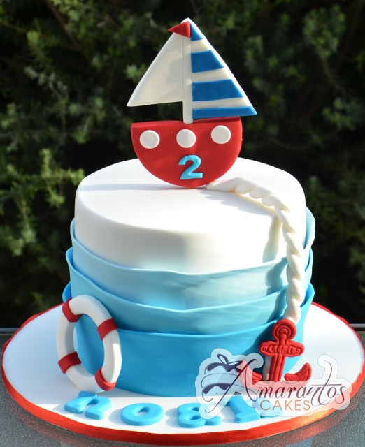 Two tier with Sail Boat - Amarantos Cakes Melbourne