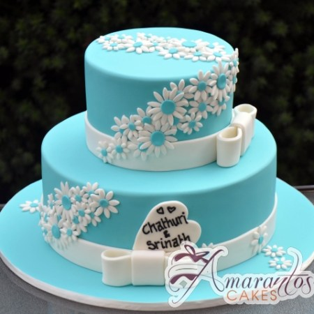 Two Tier with Daisies Cake - Amarantos Designer Cakes Melbourne