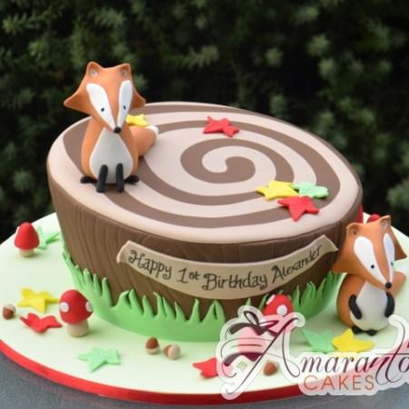 Forest Themed Cake With Fox - Amarantos Designer Cakes Melbourne