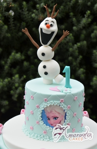 Two Tier Frozen Cake Olaf - Amarantos Celebration Cakes Melbourne